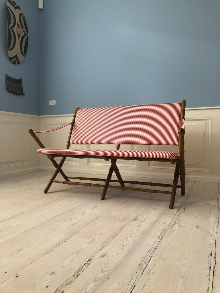 Vintage French 1950s Foldable Sofa in Faux Bamboo and Red/White Striped Textile For Sale 8