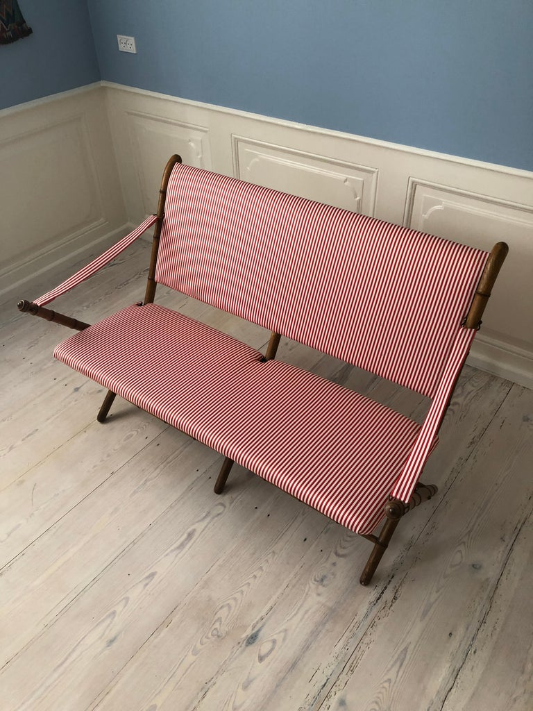 Vintage French 1950s Foldable Sofa in Faux Bamboo and Red/White Striped Textile For Sale 9