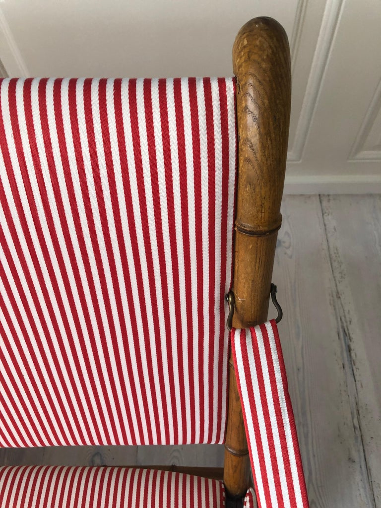 Vintage French 1950s Foldable Sofa in Faux Bamboo and Red/White Striped Textile For Sale 1