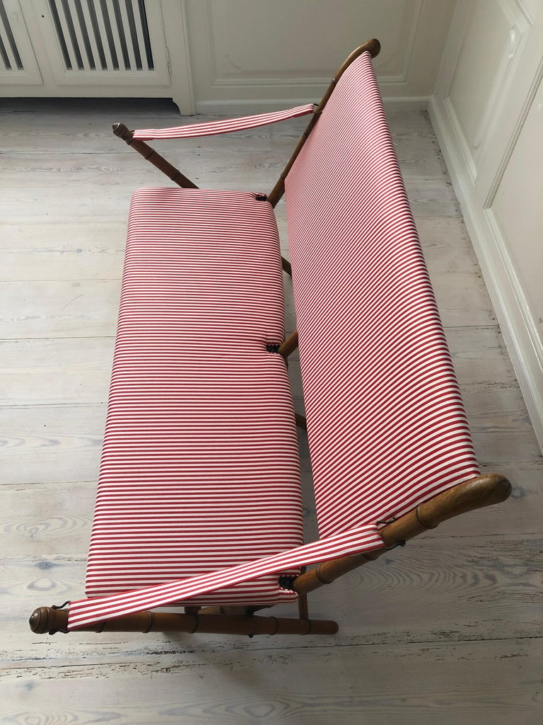 Vintage French 1950s Foldable Sofa in Faux Bamboo and Red/White Striped Textile For Sale 2