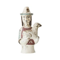 Vintage French 1950s Jean Derval Ceramic Figure of Woman Holding Lamb