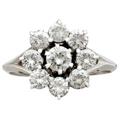 Vintage French 1970s 1.31 Carat Diamond and White Gold Cluster Ring