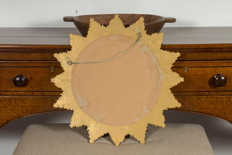 Vintage French 1970s Gilt Composition Sunburst Mirror with Rays of Varying Sizes For Sale 8