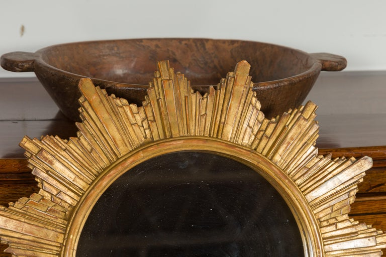Vintage French 1970s Gilt Composition Sunburst Mirror with Rays of Varying Sizes For Sale 1