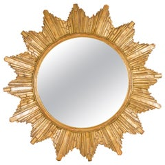 Vintage French 1970s Gilt Composition Sunburst Mirror with Rays of Varying Sizes