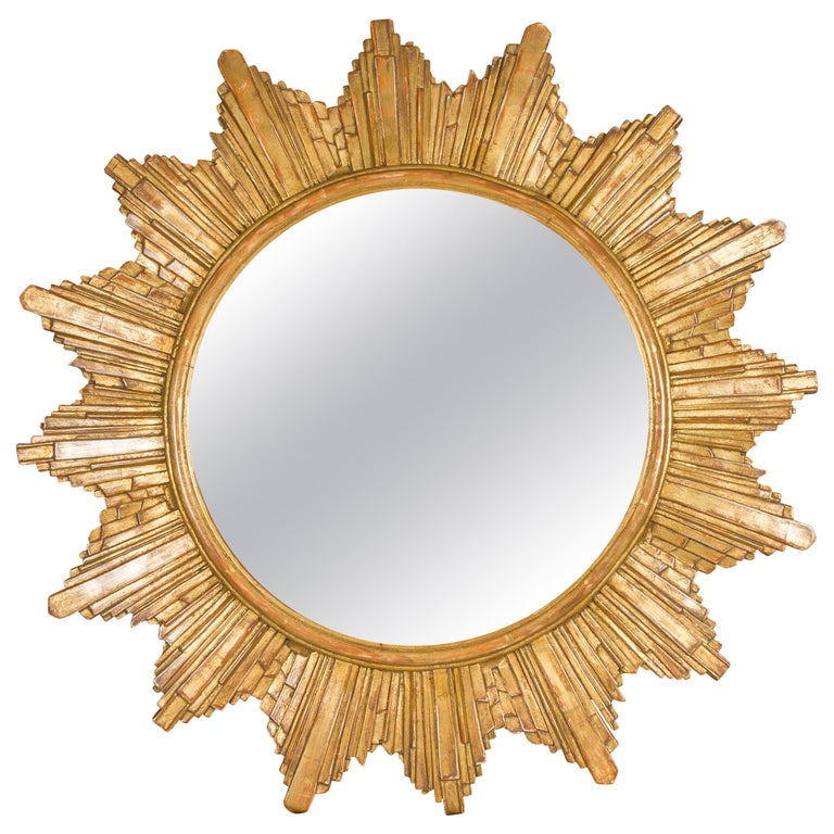 Vintage French 1970s Gilt Composition Sunburst Mirror with Rays of Varying Sizes For Sale