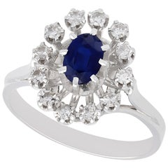 Vintage French 1970s Sapphire and Diamond White Gold Cluster Ring