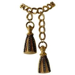 "Vintage French 1980's ""Metal Dore"" Diamante Tassel Necklace/Belt"