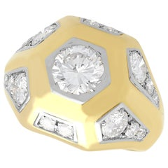 Vintage French 2.70 Carat Diamond and Yellow Gold Signet Style Ring Circa 1960