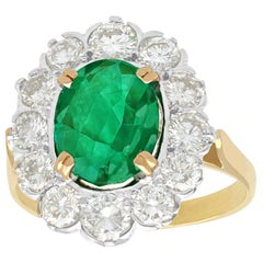 French 2.90 Carat Emerald & 2.38 Carat Diamond Yellow Gold Cluster Ring