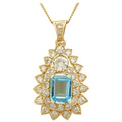 Vintage French 3.95 Carat Topaz and 3.08 Carat Diamond Yellow Gold Pendant