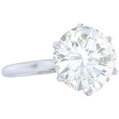 Vintage French 4.45 Carat Brilliant Cut Diamond Platinum Gold Engagement Ring