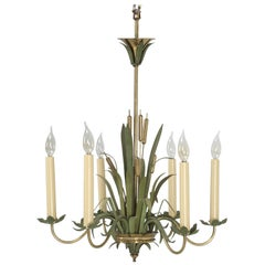 Vintage French 6-Light Painted Cattail Chandelier in the Style of Maison Jansen