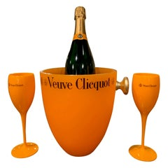 """Vintage French Acrylic Champagne Cooler and Two Flutes from """"Veuve Clicquot"""""""