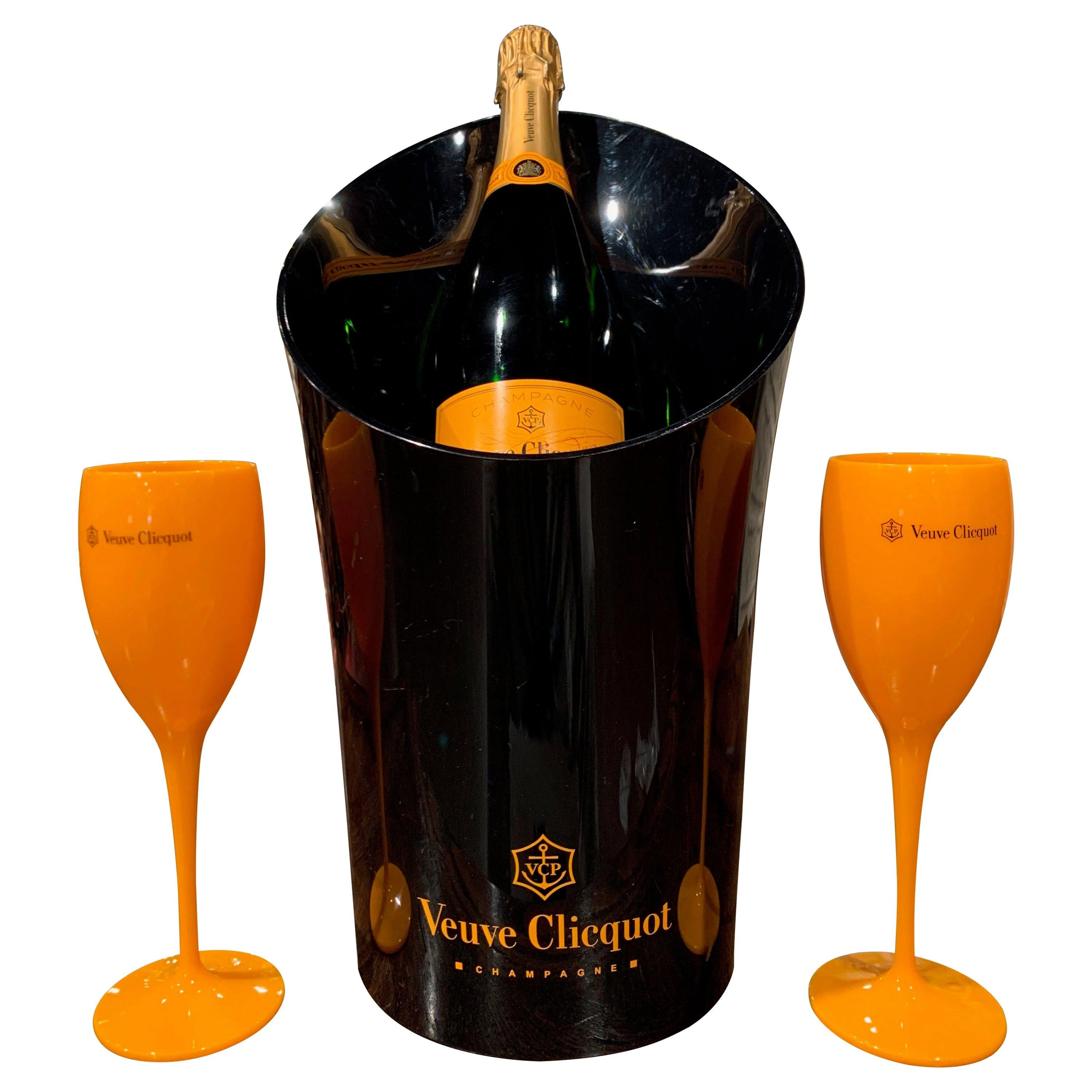 """Vintage French Acrylic """"Veuve Clicquot"""" Magnum Champagne Cooler and Two Flutes"""