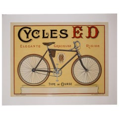 "Vintage French Advertising Poster ""Cycles ED"", circa 1910"