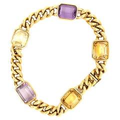 Vintage French Amethyst & Citrine 18 Karat Gold Bracelet