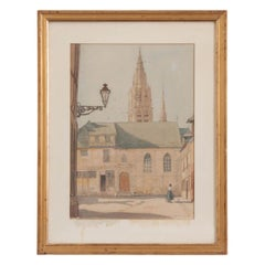 Vintage French Architectural Painting