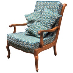 Vintage French Armchair in Hand Carved Wood and Beautiful Upholstery
