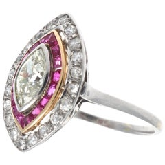 Vintage French Art Deco 1 Carat Natural Marquise Cut Diamond Ruby Platinum Ring