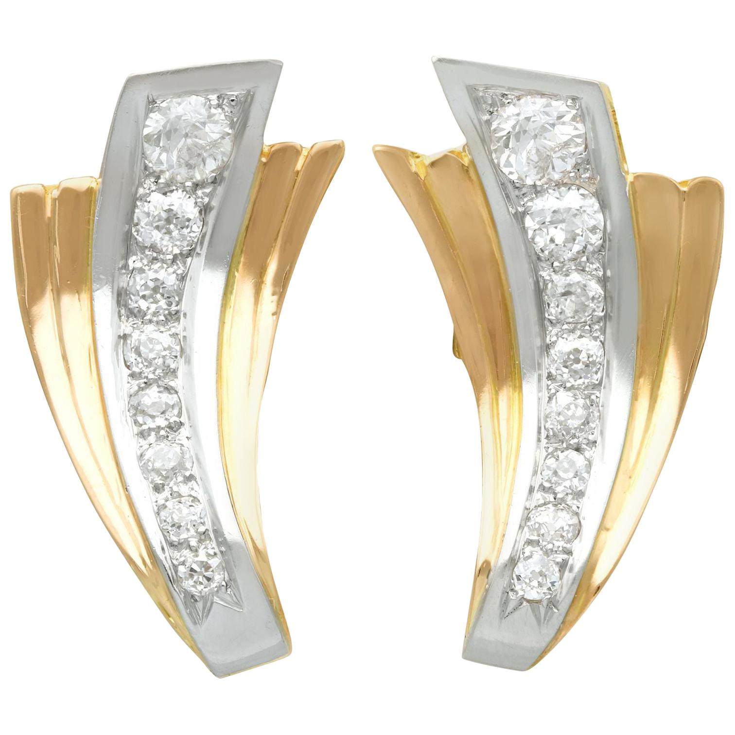 Vintage French Art Deco 1940s 4.06 Carat Diamond and Yellow Gold Earrings