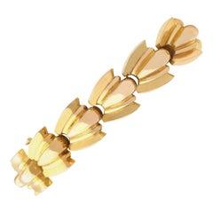 Vintage French Art Deco 1940s Yellow Gold Bracelet