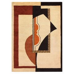 Vintage French Art Deco Area Tufted Rug. 5 ft 8 in x 7 ft 10 in