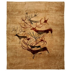 Early 20th Century French Art Deco Beige, Brown and Red Handmade Wool Rug