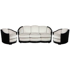 Vintage French Art Deco Black Sofa Set