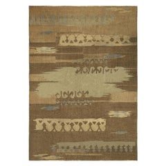 Vintage French Art Deco Brown and Blue Handwoven Wool Rug