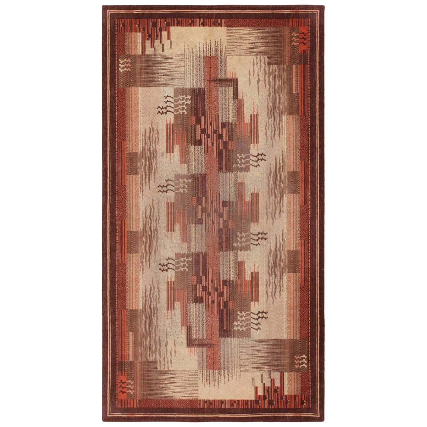Vintage French Art Deco Carpet. Size: 5 ft x 9 ft (1.52 m x 2.74 m)