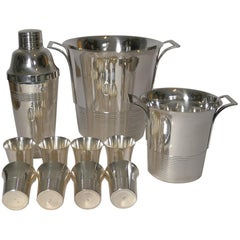 Vintage French Art Deco Cocktail Set circa 1930s in Silver Plate