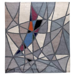 Vintage French Art Deco Gray, Blue and White Handwoven Wool Rug