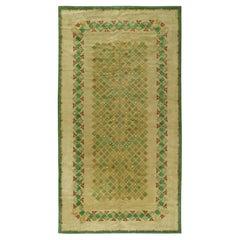 Vintage French Art Deco Green Handmade Wool Rug by Paule Leleu