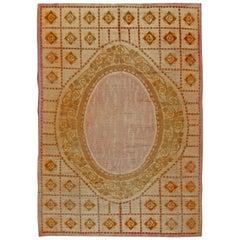 Vintage French Art Deco Handwoven Wool Carpet