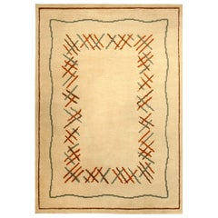 Vintage French Art Deco Ivory, Orange and Bluish Green Wool Rug