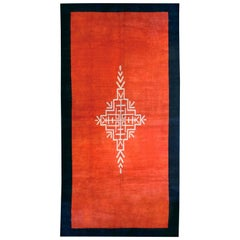 Vintage French Art Deco Orange-Red and Midnight Blue Rug