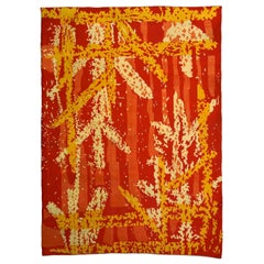 Vintage French Art Deco Orange, Red and White Wool Rug