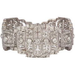Vintage French Art Deco Platinum and Diamond Bracelet 7.44 Carat