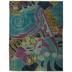 Vintage French Art Deco Purple, Olive and Bright Blue Handwoven Wool Rug