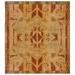 Vintage French Art Deco Red, Brown and Beige Handwoven Wool Rug