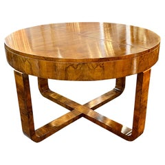 Vintage French Art Deco Style Walnut Center Table