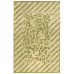 Vintage French Art Deco Wool Rug in Soft Green and Cream
