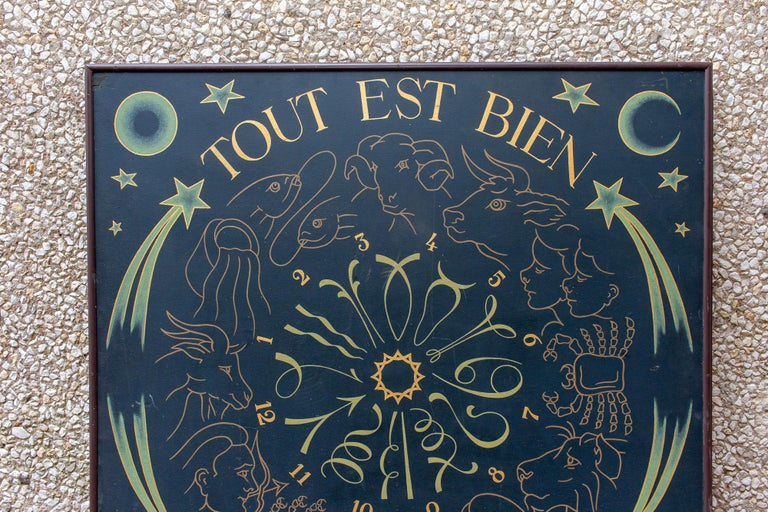 Late 20th Century Vintage French Astrological Art Panel For Sale