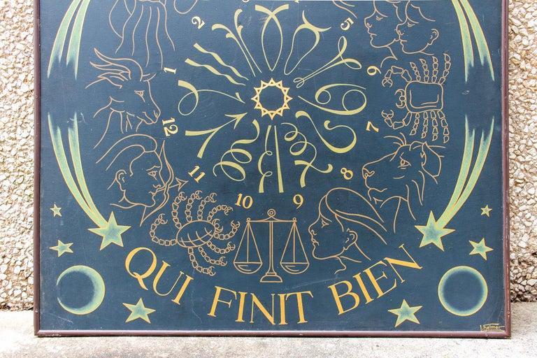 Wood Vintage French Astrological Art Panel For Sale