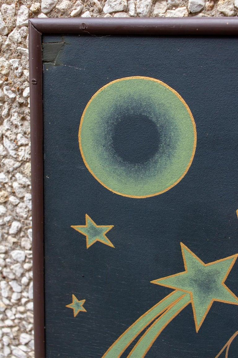 Vintage French Astrological Art Panel For Sale 1