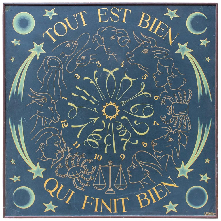 Vintage French Astrological Art Panel For Sale