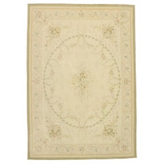 Vintage French Aubusson Chinese Area Rug with Chintz Victorian Style