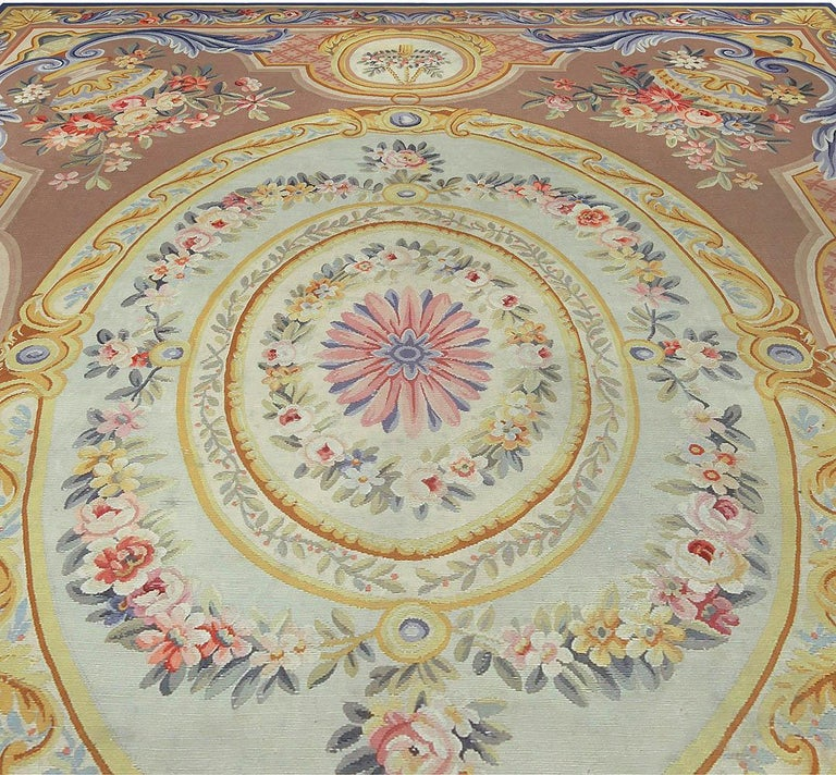 Vintage French Aubusson rug Size: 7'7
