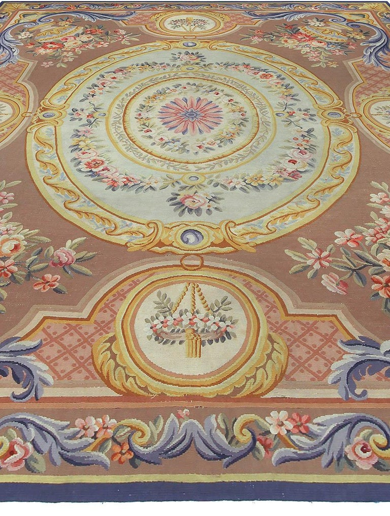 Hand-Knotted Vintage French Aubusson Rug For Sale